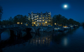 Picture the sky, trees, night, bridge, lights, river, the moon, home, Amsterdam, Netherlands, boats, water
