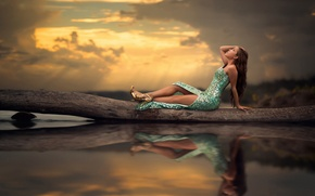 Picture water, reflection, dress, legs, Mermaid
