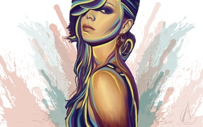 Picture look, girl, face, background, paint, hair, earrings, art, painting