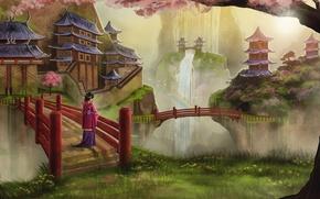 Picture girl, trees, birds, Asia, waterfall, rainbow, spring, Sakura, art, geisha, kimono, bridges, flowering, temples