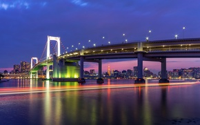 Picture megapolis, capital, lighting, Bay, lights, capital, night, lilac, building, lights, Tokyo, Japan, bridge, home, Japan, ...