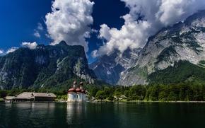 Picture Germany, Bayern, Church, Germany, Bavaria, Bavarian Alps, The Bavarian Alps, Königssee lake, lake Königssee, Watzmann, …
