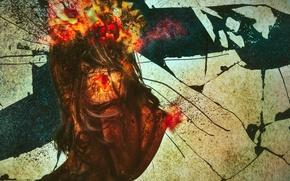 Picture woman, stone, texture, sand, fine art, combustion, rick, Fracture
