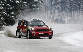 Picture forest, Red, Snow, People, Mini Cooper, Rally, MINI, The front, Mini Cooper