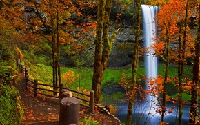 Picture river, mountains, road, leaves, fall, leaves, path, colors, trees, water, walk, rocks, river, forest, autumn, ...