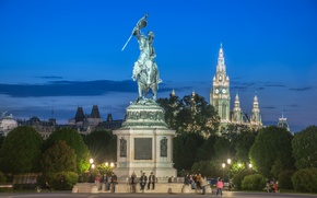 Picture trees, lights, people, the evening, Austria, monument, town hall, Vienna, Hofburg