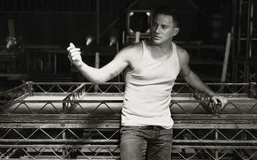 Picture pose, photo, jeans, Mike, actor, black and white, gesture, Channing Tatum, Channing Tatum, Norman Jean …