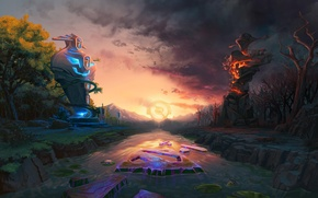 Wallpaper light, river, darkness, the opposition, logo, logo, dota, radiant, river, aegis, DotA, dota2, dire, aegis, ...