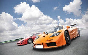 Wallpaper orange, red, McLaren, red, ferrari, Ferrari, gtr, supercars, orange, gtr, supercars, f40, F40, McLaren