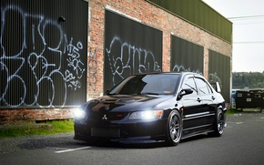 Wallpaper black, Mitsubishi, Lancer, Evolution, Beautiful, Style, Lancer, JDM, Evolution, Mitsubishi, black. frontside