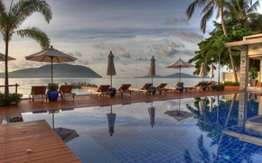 Picture the ocean, view, the evening, pool