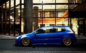 Picture blue, tuning, volkswagen, profile, Golf, golf, blue, Volkswagen, MK5