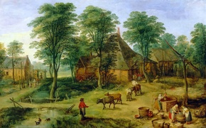 Picture landscape, picture, Jan Brueghel the younger, The Farm