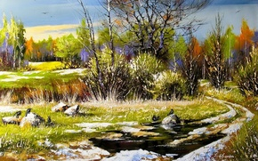 Picture road, autumn, forest, birds, picture, spring, day, painting, first, Khodukov, spatula, the last snow