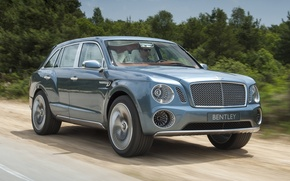 Picture road, Concept, trees, Bentley, jeep, the front, crossover, Bentley.The concept, EXP 9 F