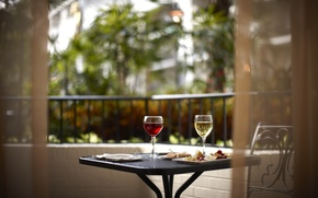 Picture wine, food, glasses, balcony, table