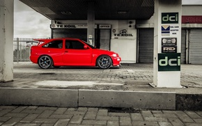 Picture car, red, ford, lady, speedhunters, cosworth