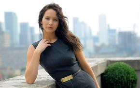 Picture look, belt, skyscrapers, Jennifer Lawrence, Jennifer Lawrence