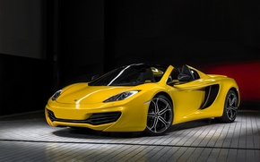 Picture McLaren, yellow, front, MP4-12C, yellow, before, McLaren