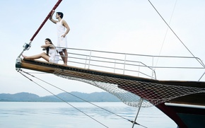 Picture sea, girl, stay, woman, yacht, boat, male, guy, resort