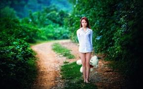 Wallpaper road, girl, mood, bear, Asian