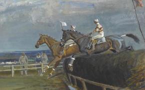 Wallpaper picture, Horse racing in Hethersett, genre, Edward Seago