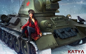Picture Nikita Bolyakov, art, winter, average, snowflakes, World of Tanks, figure, girl, tank, in red, T-34-76, ...