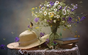 Wallpaper summer, chamomile, books, hat, bouquet