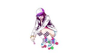 Picture girl, minimalism, playboy, videos, glasses, bracelet, cap, Chupa Chups, Sedin