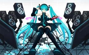Picture girl, speakers, vocaloid, hatsune miku, Vocaloid, monitors