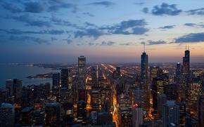 Picture city, lights, USA, Chicago, Illinois, twilight, skyline, sky, sunset, night, clouds, lake, evening, dusk, buildings, …