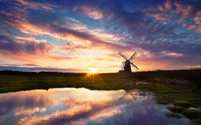 Picture the sky, water, the sun, reflection, sunset, lake, the evening, mill