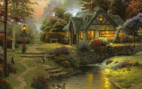 Picture summer, sunset, the evening, river, painting, cottage, bench, art, geese, Thomas Kinkade, painting, Thomas Kinkade, ...