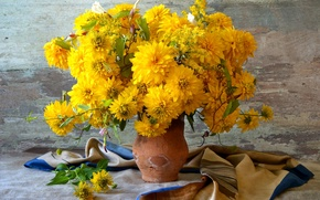 Picture autumn, yellow, bouquet, pitcher, rudbeckia
