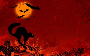 Picture cat, black, figure, branch, mouse, red background, Halloween