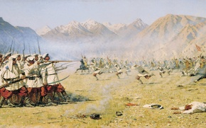 Picture mountains, war, soldiers, shooting, the battle, guns, cavalry, Vereshchagin, uniforms, attack by surprise, ballistica