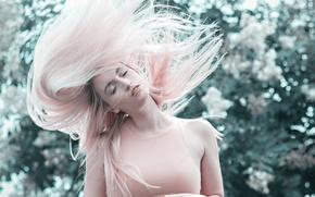 Wallpaper girl, hair, pink