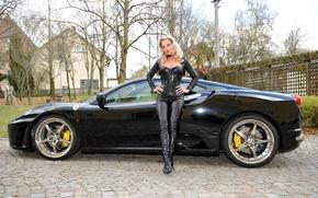Picture look, girl, Girls, Ferrari, black car