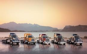Wallpaper Water, Mountains, Trucks