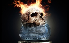 Picture Skull, Fire, Flame, Fire, Sake