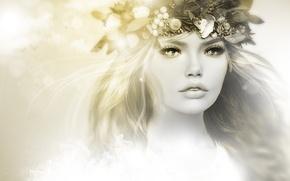 Picture girl, face, portrait, wreath