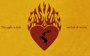 Picture flame, Game of Thrones, hurt, stag, Stannis Baratheon, the night is dark and full of …
