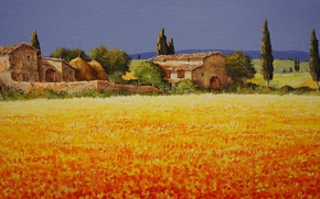 Picture field, the sky, trees, landscape, flowers, house, picture, Italy, Tuscany