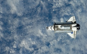 Picture in orbit, earth from space, the space Shuttle
