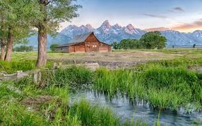 Picture landscape, mountains, house, river