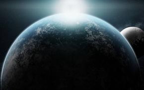 Picture the sun, space, sunrise, planet, satellite, stars, 3840x1080