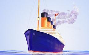 Picture canvas, ship, picture, Titanic, liner, seascape
