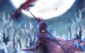 Picture girl, trees, night, weapons, the moon, anime, petals, art, hood, braid, ruby, rwby, a430dp