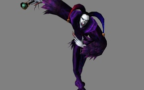 Picture freak, the demon, claws, skull, grey background, Devil May Cry, jester, Jester