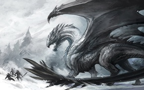 Picture ice, snow, people, dragon, battle